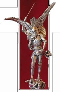 A menudo la iconograf�a representa a San Miguel como un magn�fico guerrero luchando contra Lucifer